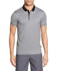BOSS - Gray 'pitton' Extra Trim Fit Mercerized Polo for Men - Lyst
