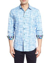 Robert Graham - Blue 'port Said' Classic Fit Embroidered Sport Shirt for Men - Lyst