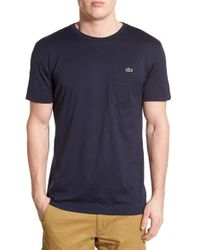 Lacoste - Black Super Fine Crewneck Pocket T-shirt for Men - Lyst