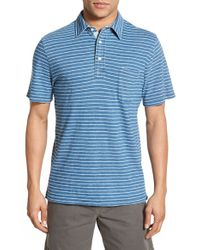 Faherty Brand - Blue Regular Fit Stripe Polo for Men - Lyst