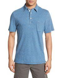 Faherty Brand - Blue Regular Fit Stripe Polo for Men - Lyst