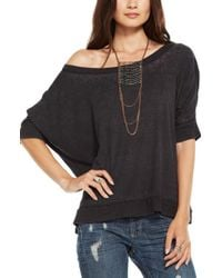 Chaser - Black Burnout Oversize Off The Shoulder Tee - Lyst