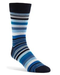 Bugatchi | Blue 'deconstructed Rugby Stripe' Socks for Men | Lyst