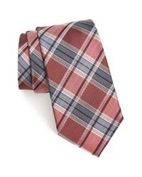 Calibrate - Red 'school Plaid' Silk Tie for Men - Lyst