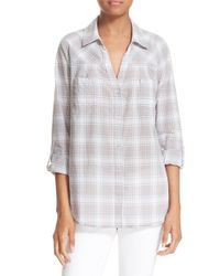 Soft joie 39 brady 39 plaid shirt in gray lyst for Soft joie plaid shirt
