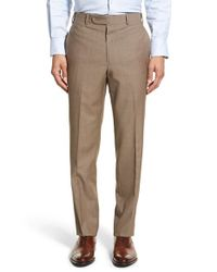 JB Britches - Brown J.b. Britches 'torino' Flat Front Solid Wool Trousers for Men - Lyst