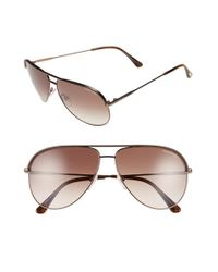 Tom Ford - Gray 'erin' 61mm Aviator Sunglasses - Lyst