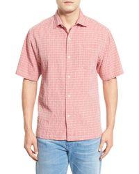 Tommy Bahama - Red 'dobby Nuevo' Original Fit Short Sleeve Silk Blend Sport Shirt for Men - Lyst