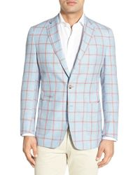 Peter Millar - Red 'hamptons' Windowpane Check Sport Coat for Men - Lyst