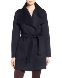 T Tahari | Blue Tahari 'ella' Belted Double Face Wool Blend Wrap Coat | Lyst