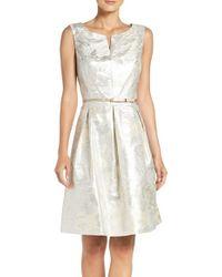 Ellen Tracy | Multicolor Belted Metallic Jacquard Fit & Flare Dress | Lyst