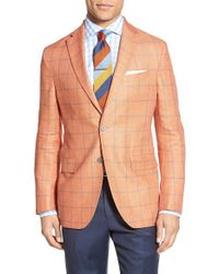 David Donahue - Yellow Classic Fit Windowpane Linen & Wool Sport Coat for Men - Lyst