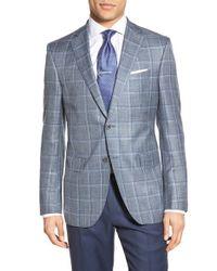 David Donahue - Blue Classic Fit Windowpane Wool, Silk & Linen Blend Sport Coat for Men - Lyst