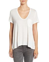 Lush | White Deep-v Neck Tee | Lyst