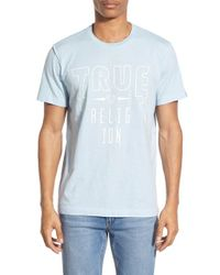 True Religion - Blue 'tr Lightning' Graphic Crewneck T-shirt for Men - Lyst