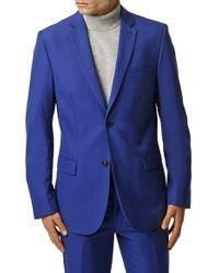 TOPMAN - Skinny Fit Blue Suit Jacket for Men - Lyst