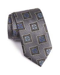 Ermenegildo Zegna | Gray Medallion Silk Tie for Men | Lyst
