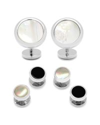 Ox and Bull Trading Co. | White Mother-of-pearl Cuff Links & Shirt Stud Set for Men | Lyst