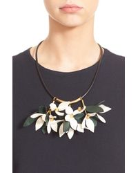 Marni - Green Floral Calfskin Leather Necklace - Lyst