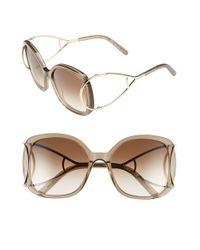 Chloé   Natural 'jackson' 56mm Square Sunglasses - Light Turtledove   Lyst