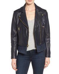 Via Spiga Blue Mixed Media Leather Moto Jacket