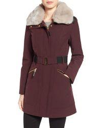 Via Spiga | Purple Detachable Faux Fur Collar Soft Shell Coat | Lyst