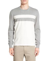 Kenneth Cole   Gray Colorblock Crewneck Sweater for Men   Lyst