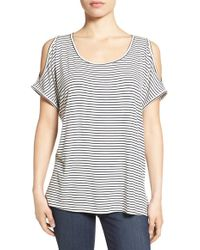 Bobeau - Multicolor Cold Shoulder Scoop Neck Tee - Lyst