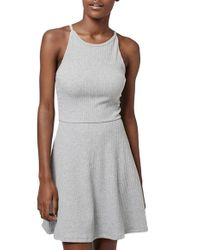 TOPSHOP - White Gray Tunic Ribbed-Jersey Dress - Lyst