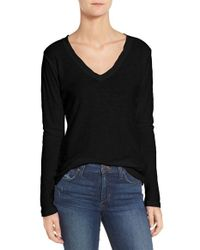 James Perse | Black Slub Cotton V-neck Long Sleeve Tee | Lyst