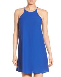Soprano | Blue High Neck Crepe Shift Dress | Lyst