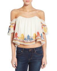 Tularosa | Multicolor 'amelia' Embellished Off The Shoulder Crop Top | Lyst