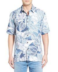 Quiksilver - Blue 'siesta' Regular Fit Leaf Print Camp Shirt for Men - Lyst