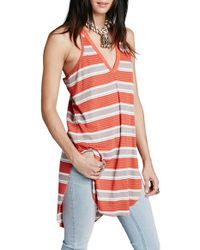 Free People - Orange 'loui' Stripe Tunic - Lyst