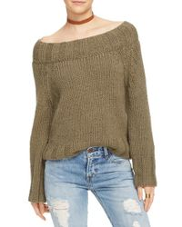 Free People - Green Open Knit Drape Pullover - Lyst