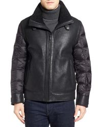 Tumi | Black Genuine Shearling & Nylon Quilted Flight Jacket for Men | Lyst
