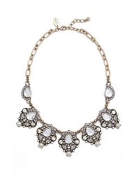 Cara | Black Crystal & Faux Pearl Necklace | Lyst