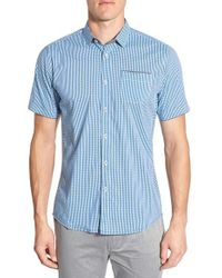 Descendant Of Thieves | Shades Of Blue Trim Fit Short Sleeve Check Woven Shirt for Men | Lyst