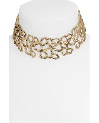 Oscar de la Renta - Metallic Textured Link Choker - Lyst