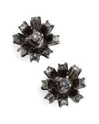 Oscar de la Renta | Black Crystal Firework Stud Earrings | Lyst