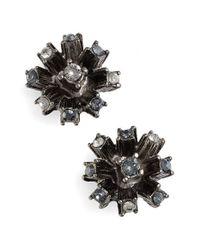 Oscar de la Renta - Black Crystal Firework Stud Earrings - Lyst