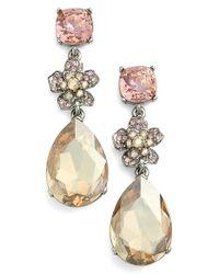 Oscar de la Renta   Metallic Crystal Drop Earrings   Lyst