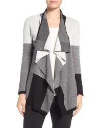 Chaus | Gray Colorblock Jacquard Drape Front Cardigan | Lyst