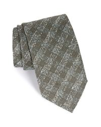 Canali | Gray Textured Plaid Silk Tie for Men | Lyst