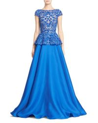 Naeem Khan - Blue Cap Sleeve Embroidered Gazar Peplum Gown - Lyst