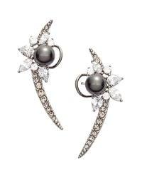 Nadri | Metallic 'pearl Essence' Cubic Zirconia Ear Crawlers | Lyst