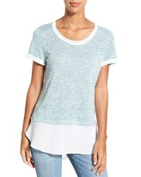 Bobeau - Blue Layered Look Short Sleeve Top - Lyst