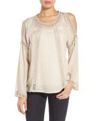 Bobeau - Natural Crochet Trim Cold Shoulder Blouse - Lyst
