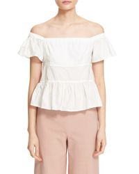 Rebecca Taylor - White Off The Shoulder Poplin Top - Lyst