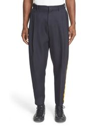 Acne Studios - Blue Ribbon Trim Wool Pants for Men - Lyst